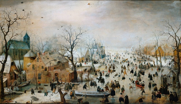 Hendrick Avercamp, Winter Landscape with                   Iceskaters (c. 1608)