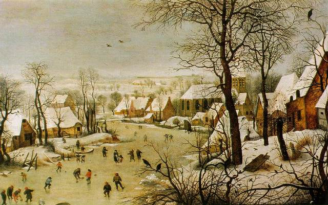 Pieter Bruegel, Winter                   Landscape with Skaters & Birdtrap (1565)